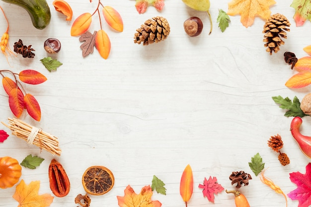 Flat lay autumn arrangement with copy space