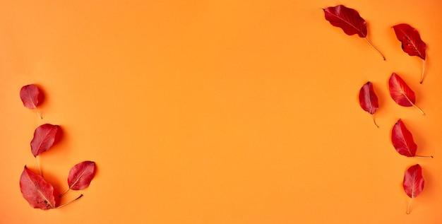 Плоская планировка осенний баннер на оранжевом. композиция с реалистичными красными листьями и чашкой кофе. привет октябрьская концепция