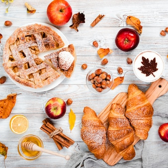 Flat lay of autumn breakfast