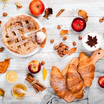Flat lay of autumn breakfast