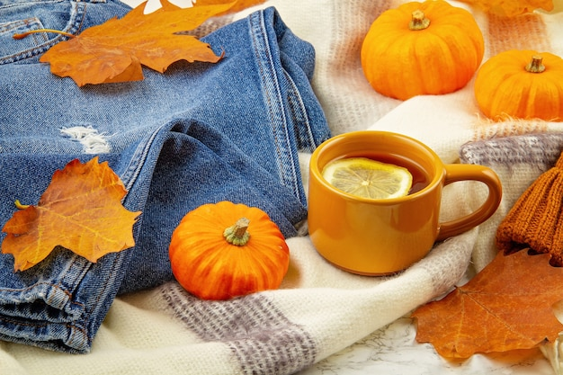 Flat lay autumn composition with fall leaves, hot cup of tea, jeans and a warm woolen scarf and hat