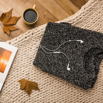 Flat lay of autumn cozy accessories