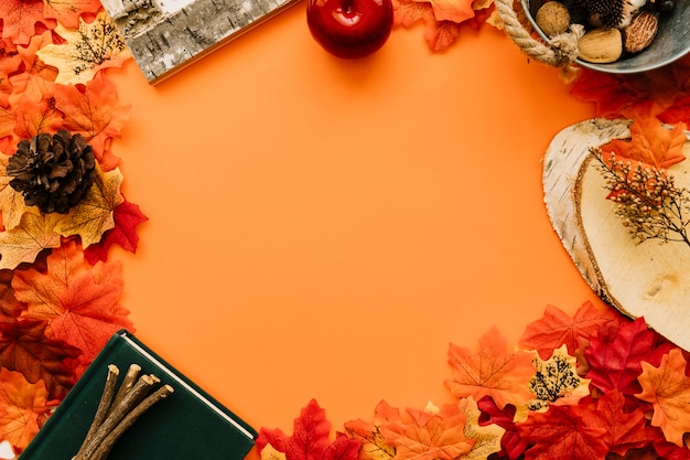 Flat lay of autumn details frame