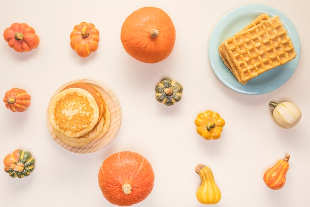 Flat lay autumn food assortment