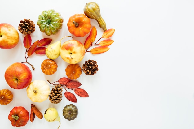 Flat lay autumn food with copy space