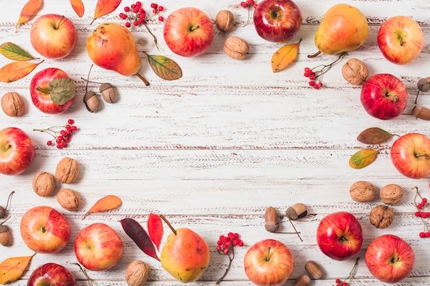Flat  lay autumn fruit frame
