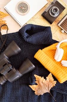 フラット横たわっていた秋の旅の要素の品揃え