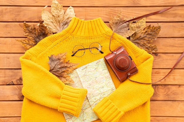 Flat lay autumn journey elements composition