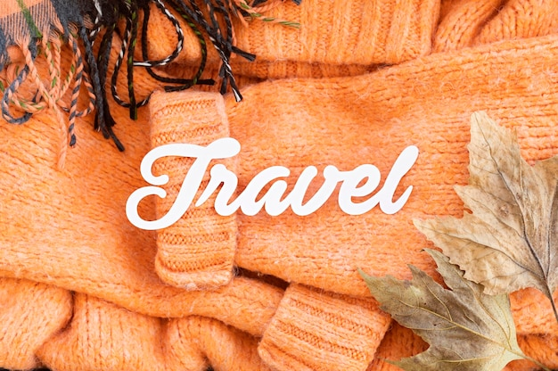フラットレイアウト秋旅行旅行レタリングと要素の品揃え