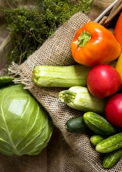 Flat lay autumn vegetables arrangement