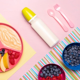 Flat lay of baby bottle and food with fruits