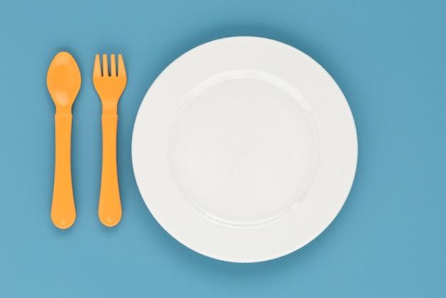 Flat lay baby tableware