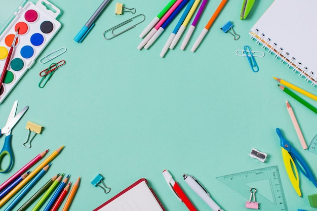 Flat lay of back to school concept with copy space