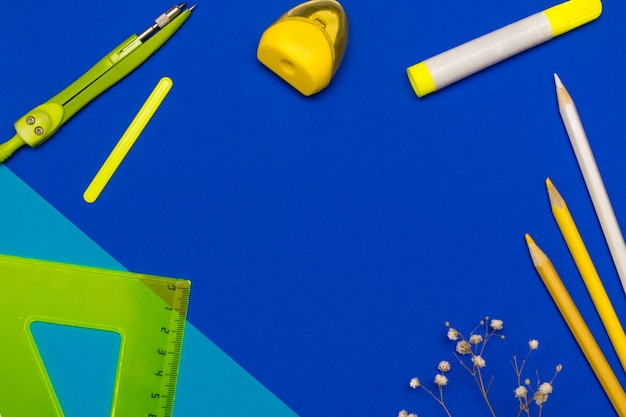 Flat lay of back to school concept with various supplies