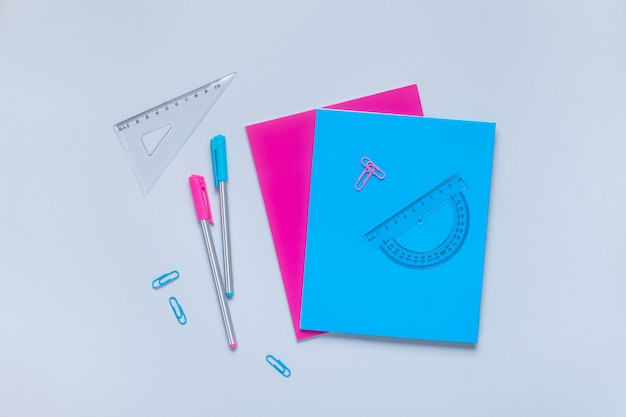 Flat lay of back to school supplies