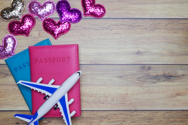 Flat-lay background for love couple traveling honeymoon concept for valentine background