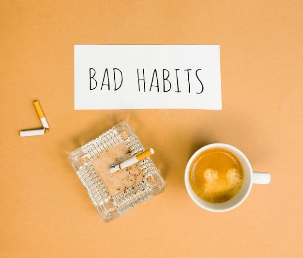 Flat lay of bad habit morning concept