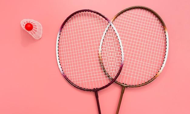 Flat lay of badminton set