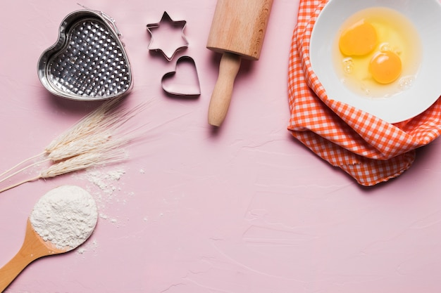 Flat lay bakery composition with copyspace