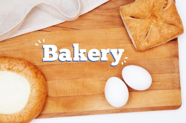 Плоская выпечка или приготовление пищи. кухонная утварь, ингредиенты для выпечки тортов и пирогов, мука, яйца, скалка, пирог с начинкой, чизкейк, фартук. выпечка белого текста. готовый дизайн