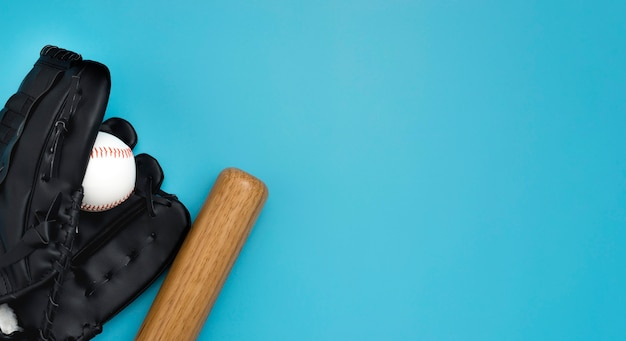 Flat lay of baseball bat with ball and gloves Free Photo