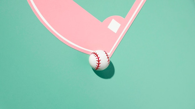 Flat lay baseball field minimal still life