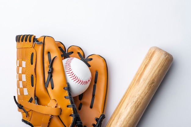 Flat lay of baseball and glvoe