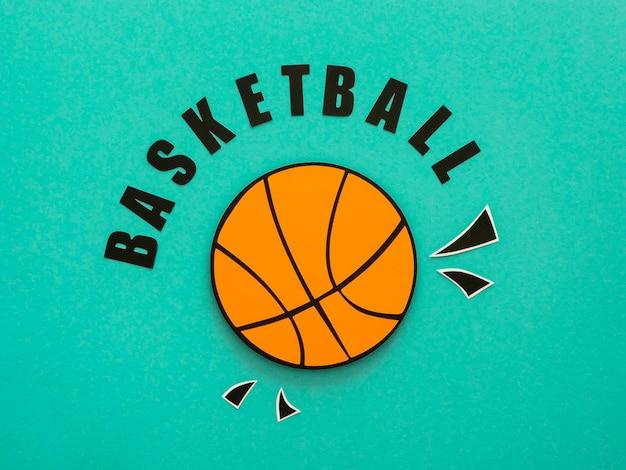 Flat lay of basketball Premium Photo
