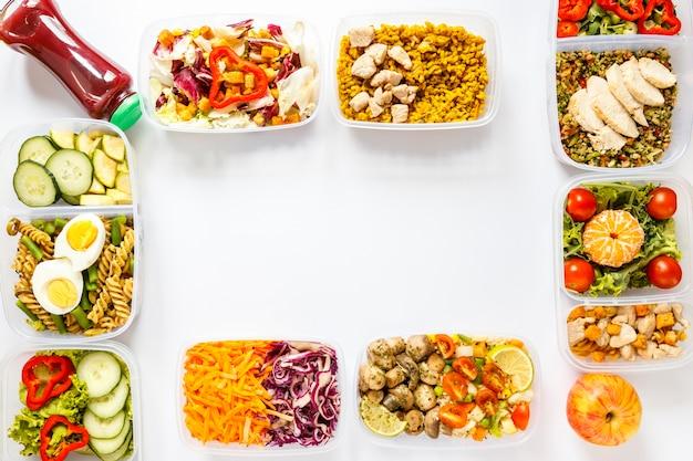 Плоская компоновка для приготовления порционной пищи с копией пространства