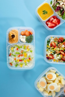Flat lay batch cooking arrangement with healthy food