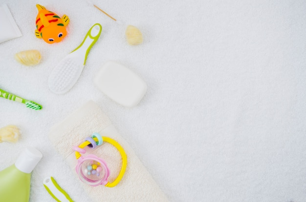 Flat lay bath accessories for baby