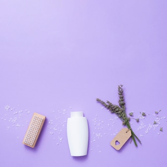 Flat lay bath composition with copy-space