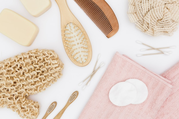 Flat lay of bath concept accessories