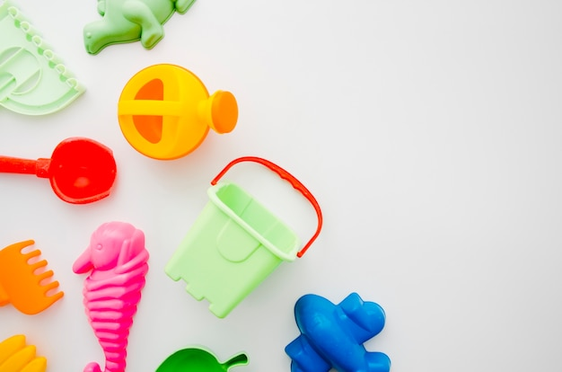 Flat lay beach toys for kids