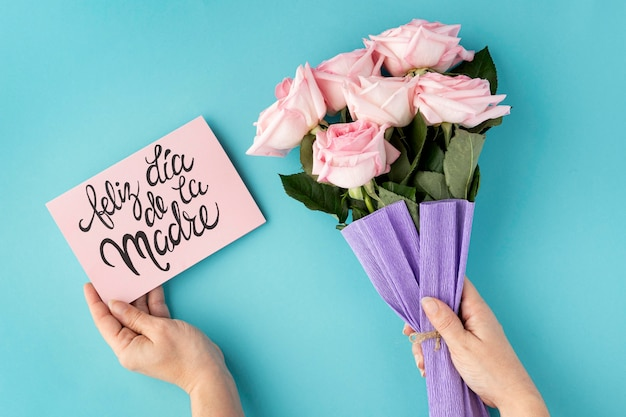 Flat lay beautiful assortment for mother's day Free Photo