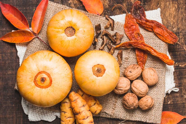 Flat lay beautiful autumn harvest composition