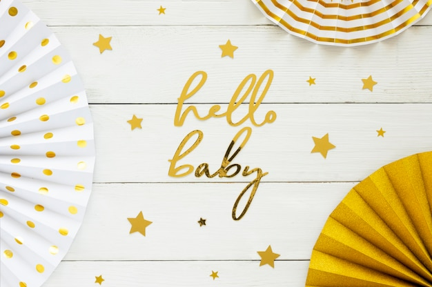 Flat lay of beautiful baby shower concept