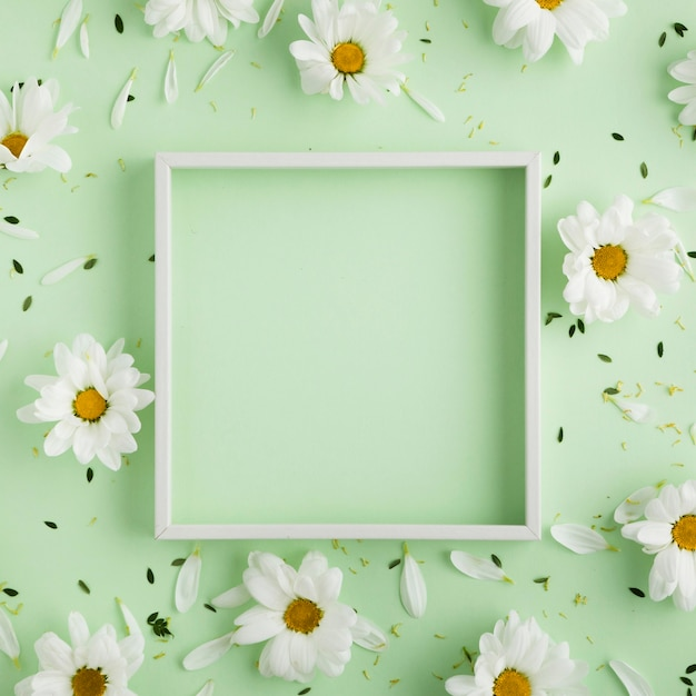 Flat lay of beautiful floral concept with copy space