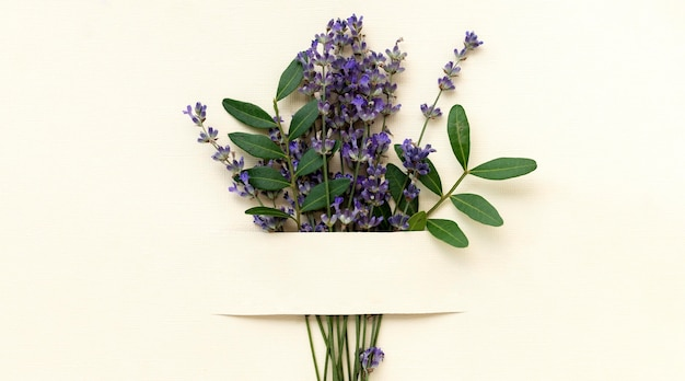 Flat lay beautiful lavender bouquet
