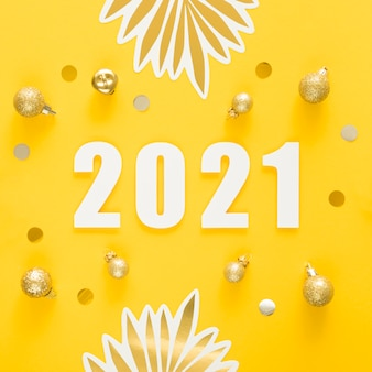 Flat lay of beautiful new year concept