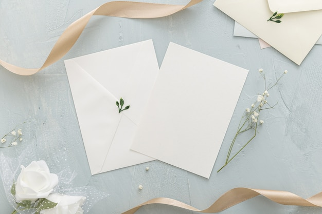 Flat lay of beautiful wedding concept with copy space