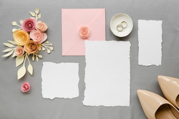Flat lay beautiful wedding invitation