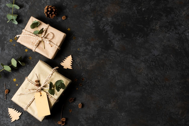 Flat lay beautiful wrapped gifts with copy space