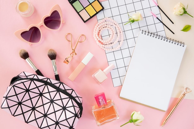 Flat lay beauty cosmetic products and accessories