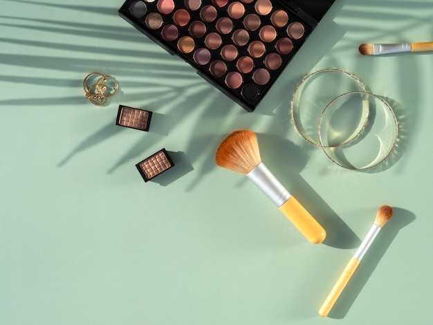 Flat lay beauty cosmetics products