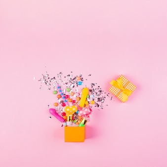 Flat lay birthday composition with copyspace