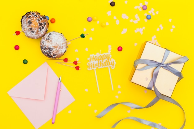 Flat lay birthday composition