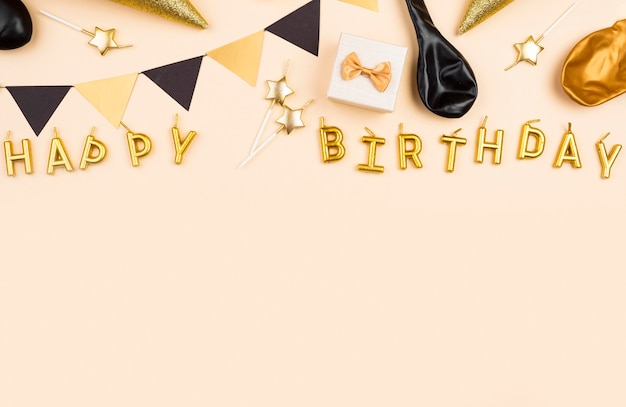Flat lay birthday frame with copy-space