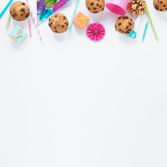 Flat lay birthday items with copy space