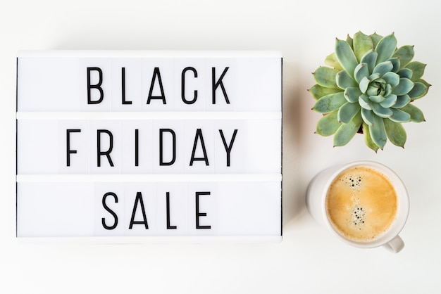 Flat lay black friday sale written on light box